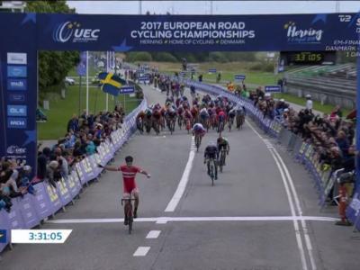Ciclismo, Europei 2017: Casper Pedersen anticipa il gruppo ed è il nuovo campione U23, 7° posto per Imerio Cima