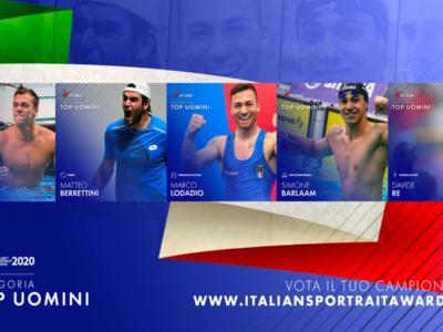 Italian Sportrait Awards 2020. Categoria top uomini: chi la spunterà tra Barlaam, Berrettini, Lodadio, Paltrinieri e Re?