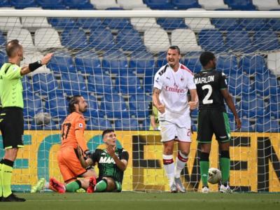 Calcio, Serie A 2020: Sassuolo-Milan 1-2. La doppietta di Ibrahimovic porta i rossoneri in Europa