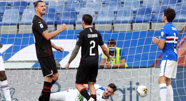 VIDEO Sampdoria-Milan 1-4: highlights, gol e sintesi. Decisivo Ibrahimovic