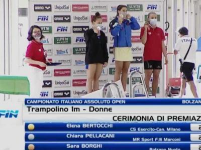 Tuffi, Assoluti Bolzano 2020: trampolino 1m donne, vince e convince Elena Bertocchi