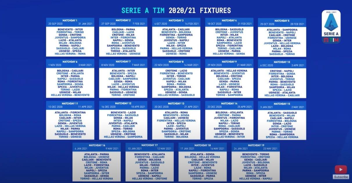 Calendario Serie A 2020 2021 calcio: si comincia con Juventus
