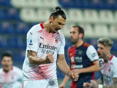 Calcio, Serie A 2020-2021: Ibrahimovic regala al Milan il successo sul Cagliari con una doppietta