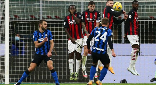 Calcio, Eriksen in pieno recupero manda l'Inter in semifinale di Coppa Italia. Milan battuto 2-1