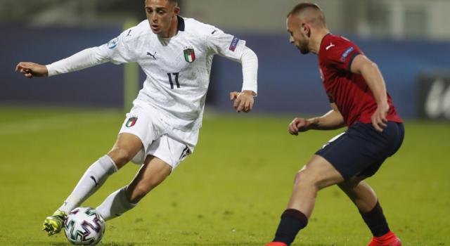 Italia-Repubblica Ceca 1-1, Europei Under 21: Scamacca in rete, autogol di Maggiore. Espulso Tonali