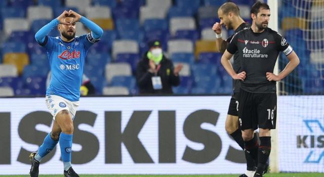 Calcio, tris del Napoli contro il Bologna, pari tra Sampdoria e Cagliari nella 26ma giornata di Serie A
