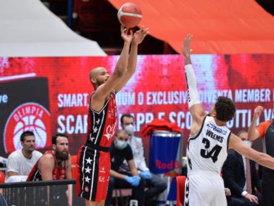 Basket, l'Olimpia Milano batte la Virtus Bologna nel big match di Serie A: decisivo un super Shields