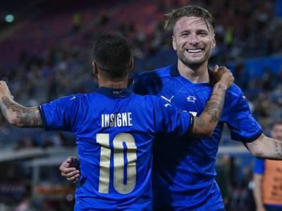Calcio, poker dell'Italia di Roberto Mancini in amichevole contro la Repubblica Ceca al Dall'Ara di Bologna