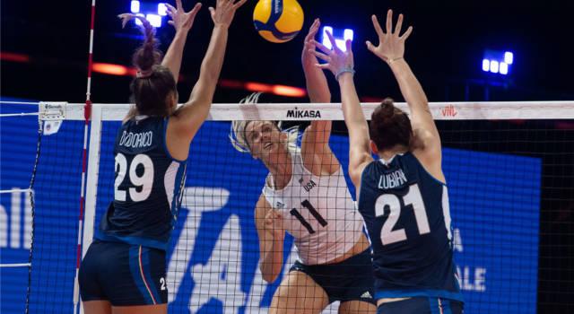Volley femminile, Nations League. Italia-USA 1-3: le azzurre strappano un set alla capolista