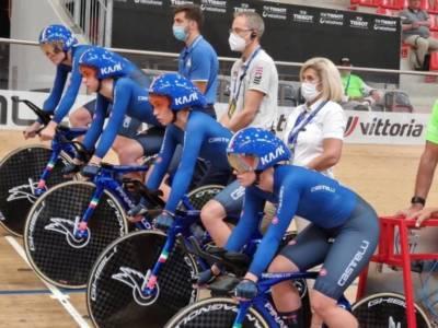 Ciclismo su pista, Italia in semifinale col quartetto femminile agli Europei 2021. Azzurre alle spalle della Germania