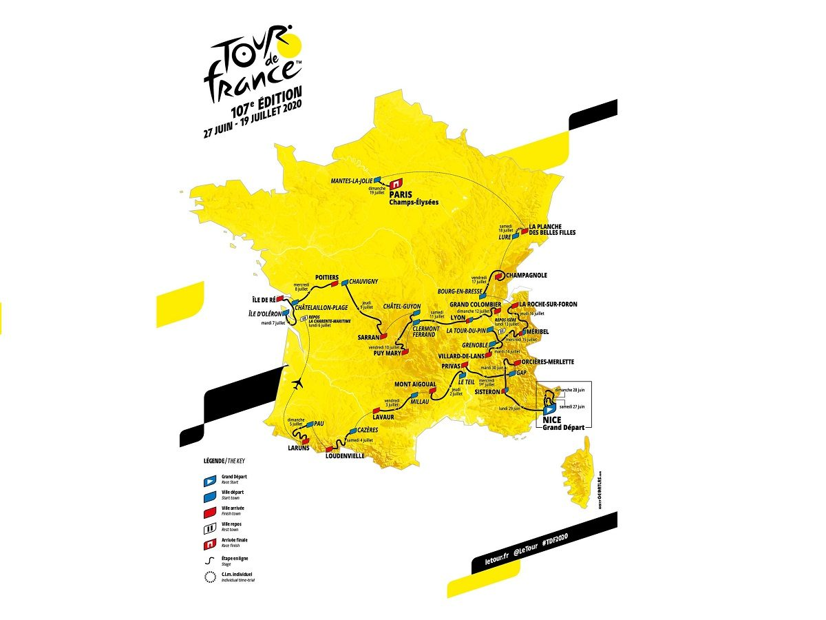 Tour de France 2020, tutte le tappe: altimetria, calendario e percorso